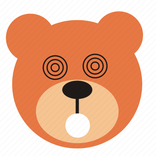 bear, cartoon, expression, funny, hypnotic, teddy icon