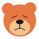 bear, cartoon, expression, funny, sad, teddy icon