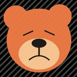 bear, cartoon, expression, funny, sad, teddy icon