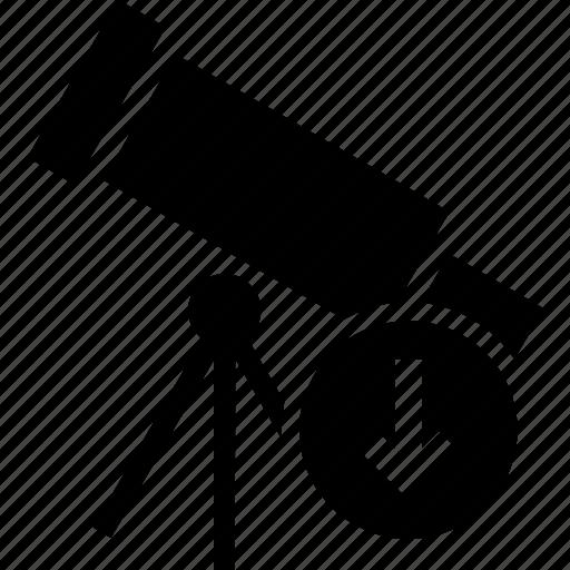 arrow, direction, down, pointer, telescope icon