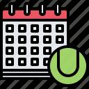 calendar, date, match, player, sport, tennis icon