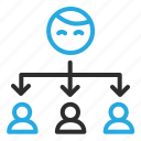 outsource, share, spread, users icon