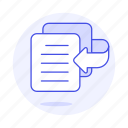 arrange, bring, doc, front, text, writing icon