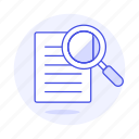 doc, document, find, magnifier, paper, reviewing, search, sheet, text, word icon