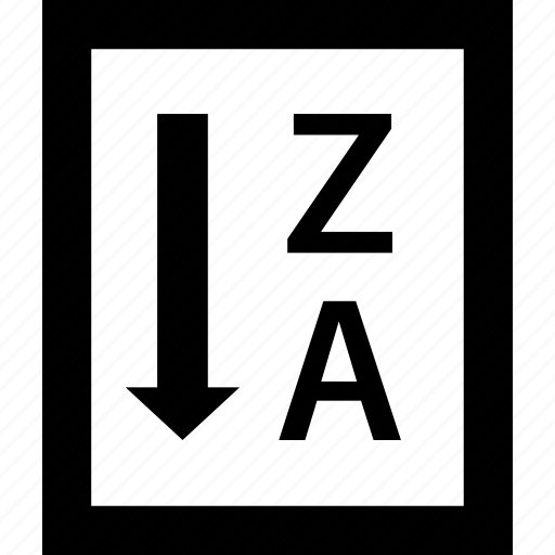 alphabet, by, order, reverse, sort, text, z to a icon