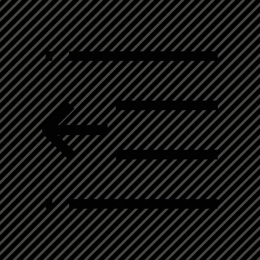 align, arrow, document, left, lines, paper, text icon