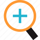 find, plus, search, zoom icon