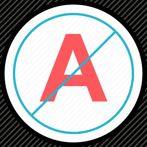 color, letter, no, stop icon
