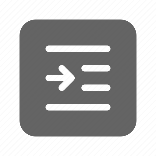 editor, indent, right, text icon