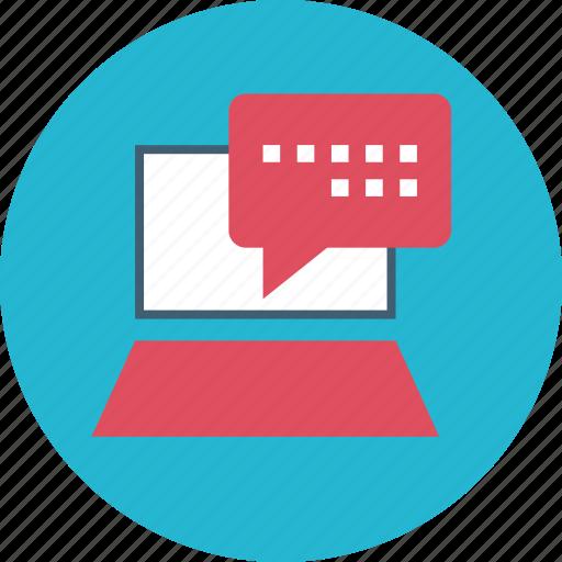 chat, laptop, online, web icon