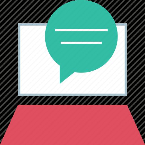 chat, laptop, talk icon