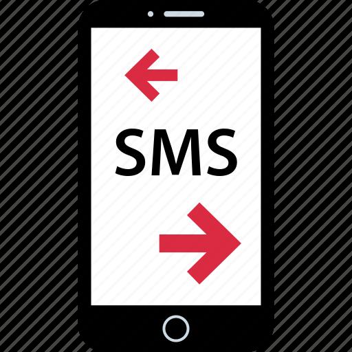 arrow, phone, pointer, sms icon