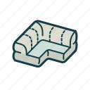 furniture, isometric, landscape interior, lounge, settee, sofa icon