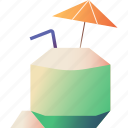 cocktail, coconut, drink, fruit, juice, summer, tropical icon