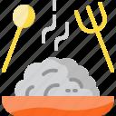 dish, food, fork, rice, spoon, thailand
