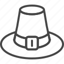 day, hat, holidays, line, outline, pilgrim, thanksgiving icon