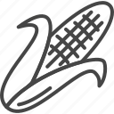 corn, day, holidays, line, outline, thanksgiving, vegetable icon