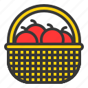 food, fruit, picnic basket, thanksgiving icon