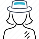 woman, pilgrim, person, hat icon