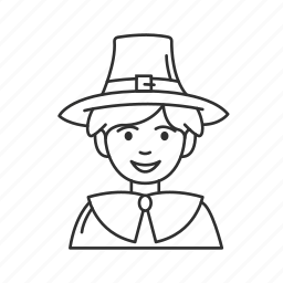 american pilgrim, american settler, happy pilgrim, pilgrim, pilgrim boy, thanksgiving, young boy icon