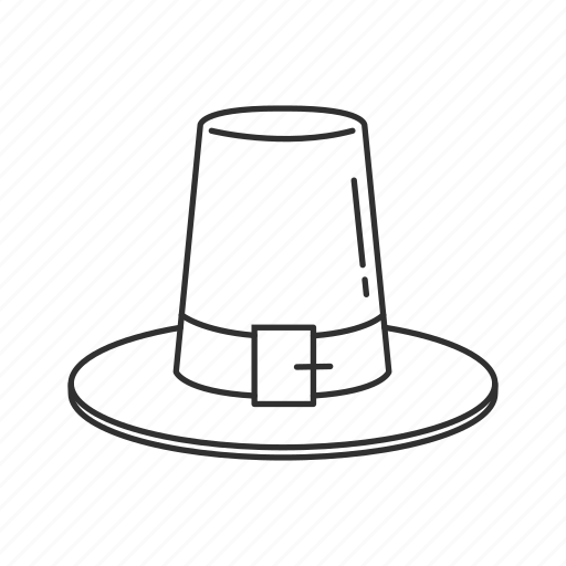 black hat, buckle hat, pilgrim hat, pilgrim's hat, sun hat, thanksgiving, wide brim hat icon