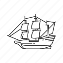 boat, mayflower, pilgrims, ship, thanksgiving, the mayflower, wooden ship icon