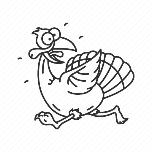 bird, funny turkey, running turkey, scared turkey, thanksgiving, turkey, turkey hunting icon