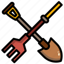 equipment, farming, harvest, hoe, rake, tool