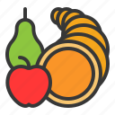 cornucopia, fruit, horn, thanksgiving icon