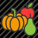 apple, fruit, pumpkin, thanksgiving icon