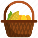basket, farming, harvest, thanksgiving, vegetable icon