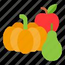 apple, fruit, pumpkin, thanksgiving
