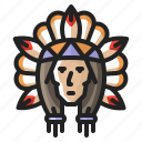 american, chief, heritage, history, indian, man, thanksgiving icon