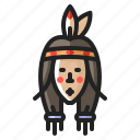 american, chief, girl, heritage, indian, thanksgiving, woman icon