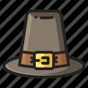 celebration, farming, hat, heritage, history, pilgrim, thanksgiving icon