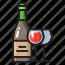 alcohol, anniversary, bottle, celebration, drinking, glass, wine icon