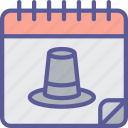 calendar, day, dinner, holiday, pilgrim, thanksgiving icon
