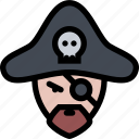 captain, pirate, skull, sword icon