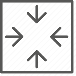arrows, colapse, down, move, reduce, size, small icon