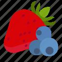 berries, bilberry, dessert, strawberries