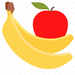 apple, banana, fruits, healthy icon