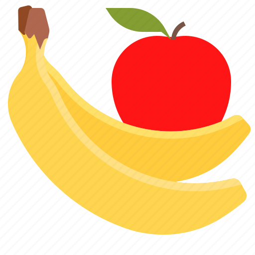 apple, banana, fruits, healthy icon