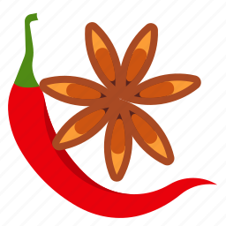 chilli, pepper, spices, star anise icon