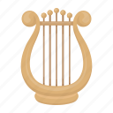 accessories, art, attribute, lyre, musical instrument, string, theater icon