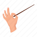 accessories, art, attribute, conductor, conductor's stick, theater, wand icon