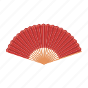 accessories, art, attribute, fan, red, theater icon