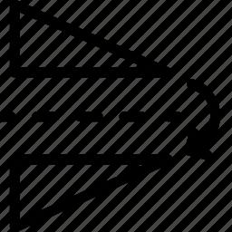design, horizontal, reflect, shape icon