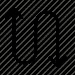 arrow, arrows, curves, direction icon