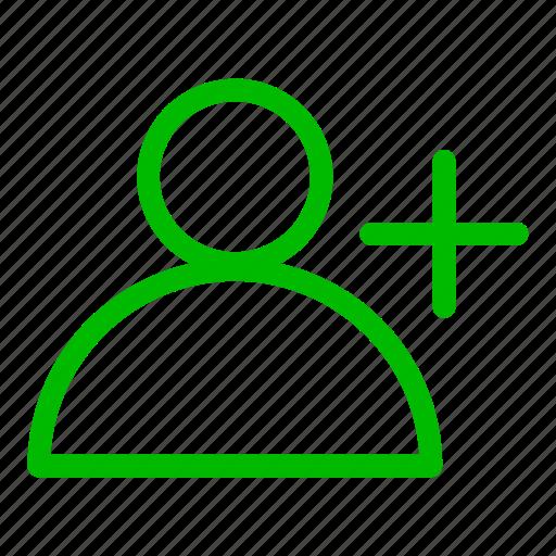 account, add, green, new user, plus, profile, user icon