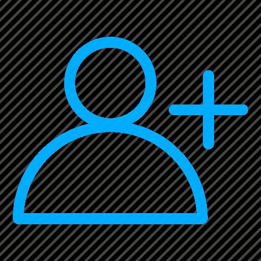 account, add, blue, new user, plus, profile, user icon